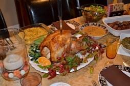 Celebrating Thanksgiving, notice the no gluten, no sugar feast!